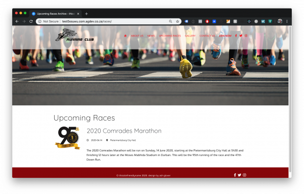 Upcoming Races page